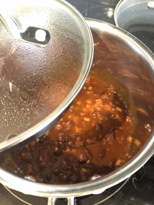 vegetable chili in a saucepan